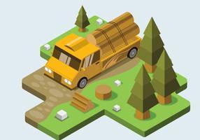 Caminhão, registrando, em, floresta, isometric, vetorial vetor