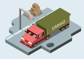 Vetor de isométrica de caminhão de carga plana