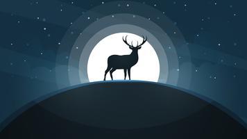 Cervos no monte - paisagem dos desenhos animados.