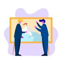 Objetivos corporativos do plano homem de negócios vetor