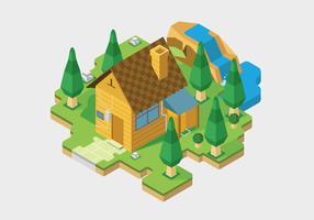 Ilustração isométrica de vetor de casa de aldeia