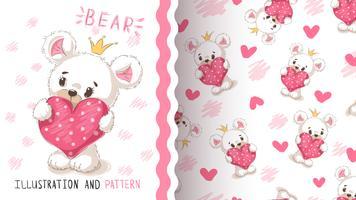 Urso com coração - padrão sem emenda.