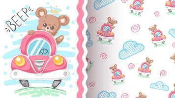 Urso e carro - padrão sem emenda vetor