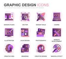 Moderno conjunto Web e Design gráfico gradiente plana ícones para o site e aplicativos móveis. Contém ícones como Estúdio, Ferramentas, Desenvolvimento de aplicativos, Retoque. Ícone plana de cor conceitual. Pacote de pictograma de vetor.