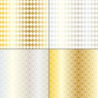 padrões geométricos marroquinos de prata e ouro vetor