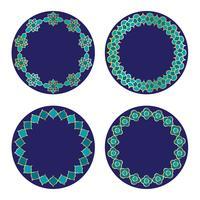 quadros marroquinos azuis do círculo do ouro vetor