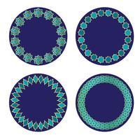 quadros de círculo marroquino ouro azul vetor