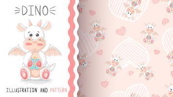 Cute teddy dino - padrão sem emenda vetor