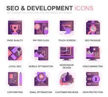 Moderno conjunto Seo e desenvolvimento gradiente planas ícones para site e aplicativos móveis. Contém ícones como Código Limpo, Proteção de Dados, Monitoramento. Ícone plana de cor conceitual. Pacote de pictograma de vetor. vetor