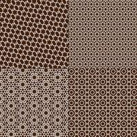 padrões marroquinos marrons e brancos vetor