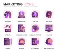 Moderno conjunto de negócios e Marketing ícones planas de gradiente para o site e aplicativos móveis. Contém ícones como Visão, Missão, Planejamento, Mercado. Ícone plana de cor conceitual. Pacote de pictograma de vetor.