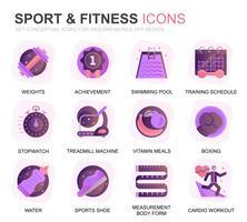 Moderno conjunto esporte e Fitness plano ícones gradientes para o site e aplicativos móveis. Contém ícones como Fit Body, Natação, Fitness App, Suplementos. Ícone plana de cor conceitual. Pacote de pictograma de vetor.