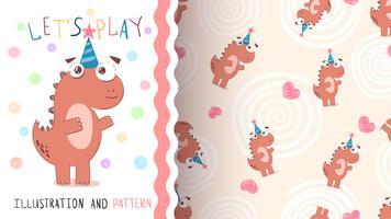 Feliz aniversário dinossauro - padrão sem emenda