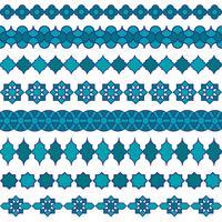 padrões de fronteira marroquina azul vetor