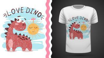 Dino e sol - ideia para imprimir t-shirt. vetor