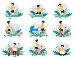 Homem feliz fazendo diferentes atividades ao ar livre: executando, cachorro andando, ioga, exercício, esporte, andar de bicicleta, andar com carrinho de bebê. vetor
