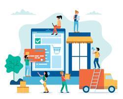 Ilustração em linha do conceito da compra no estilo liso com pessoas pequenas. Compra de mercadorias na internet, entrega, serviço de transporte.