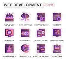 Moderno conjunto Web Design e desenvolvimento plano ícones gradientes para o site e aplicativos móveis. Contém ícones como codificação, desenvolvimento de aplicativos, usabilidade. Ícone plana de cor conceitual. Pacote de pictograma de vetor.