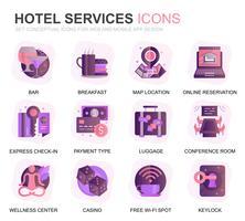 Ícones lisos do inclinação moderno do serviço de hotel do grupo para o Web site e Apps móvel. Contém ícones como restaurante, serviços de quarto, recepção. Ícone plana de cor conceitual. Pacote de pictograma de vetor.