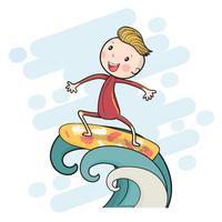 menino de surf desenho bonito na prancha flutuando na grande onda vetor