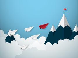Conceito de liderança com avião de estilo de corte de papel vermelho e branco vetor
