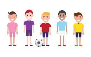 Pessoas jogando futebol ou futebol ao redor do mundo. vetor