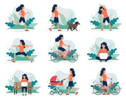 Mulher feliz fazendo diferentes atividades ao ar livre: executando, cachorro andando, yoga, exercício, esporte, andar de bicicleta, andar com carrinho de bebê. vetor