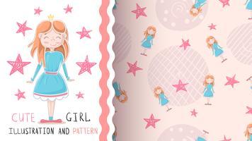 Princesa pequena bonito - padrão sem emenda vetor