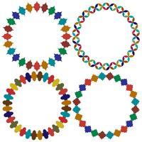 quadros de azulejos marroquinos circulares vetor