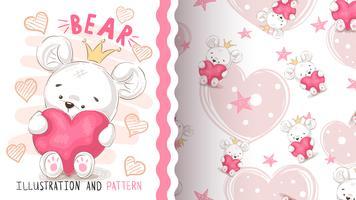 Urso com coração - padrão sem emenda. vetor