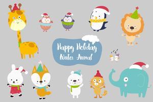 Felicidade Cartoon Animal conjunto ilustração vetorial