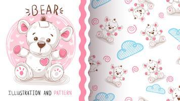 Urso de peluche bonito - teste padrão sem emenda vetor