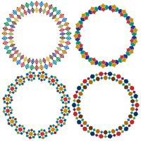 Quadros de círculo de telha marroquina vetor