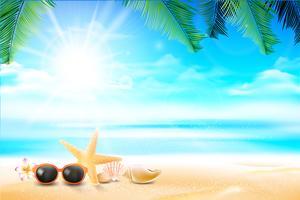 Peixe estrela de óculos de sol e flor na praia de areia 002 vetor