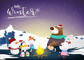Olá inverno com desenhos animados de animais e neve da noite 002