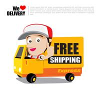 Sorriso entrega homem polegar para cima no caminhão com texto frete grátis entrega cartoon ilustração vetorial 001