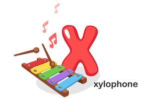 X para xilofone vetor