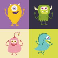 Conjunto de personagem de desenho animado monstro bonito 001 vetor