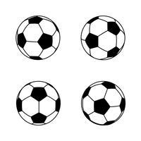 Coleção de bola de futebol básica e simples preto e branco 001 vetor