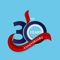 Sinal de 30º aniversário e símbolo de celebração do logotipo com fita vermelha vetor