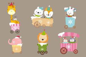Coleção de desenhos animados animais no carrinho sorriso com felicidade 001