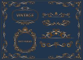 ornamentos vintage e clássicos de ouro conjunto de elementos florais para design vetor