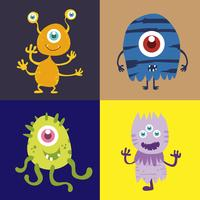 Conjunto de personagem de desenho animado monstro bonito 002 vetor