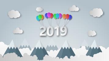 O ano novo feliz 2019 da ilustração criativa cortou o estilo. vetor