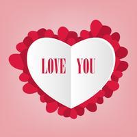 fundo de arte de papel dos namorados com coração branco e vermelho vetor