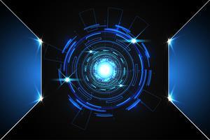 abstrato tecnologia fundo conceito círculo circuito digital metal azul em oi tech futuro design vetor
