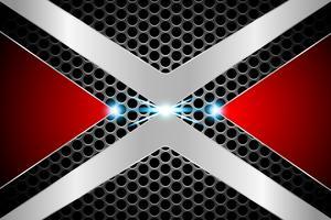 abstrato tecnologia círculo buraco sombra pano de fundo conceito X símbolo metálico vermelho no oi tech futuro design vetor