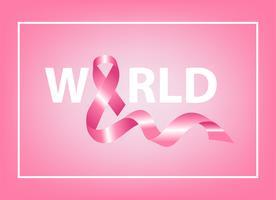 Fita rosa realista, símbolo de conscientização de câncer de mama, ilustração vetorial vetor