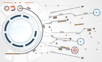 conexão de link digital de círculo de tecnologia abstrata em fundo branco de oi tech cinza