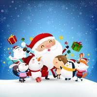 Boneco de neve de Natal Papai Noel e animais dos desenhos animados sorriso com neve caindo fundo 002
